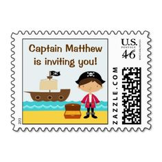 This is the matching Postage of the Cute Pirate Invitation Card! It's perfect for your child's birthday, and totally customizable!