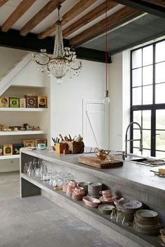 Home Decor For Small Spaces Concrete Kitchen Island Chandelier/Remodelista.Home Decor For Small Spaces Concrete Kitchen Island Chandelier/Remodelista Beton Design, Küchen Design, Design Ideas, Concrete Design, Cafe Design, Urban Design, Design Projects, Sweet Home, Cuisines Design