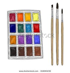 Vector illustration of artist creative set watercolors and brushes