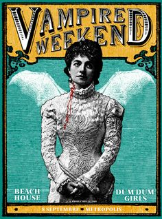 Vampire Weekend concert poster by Pat Hamou. It's not abnormal to love the paranormal! Join our boards to connect with authors and learn about the process of writing and character creation. http://www.pinterest.com/bookpublicist/ Visit Substance Books to discover some amazing new paranormal novels! http://www.substancebooks.com/books.html