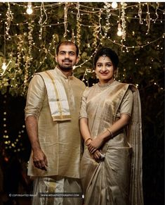 All The Colour Coordinated Outfit Inspiration You Need- Muhurtham Edition! Engagement Dress For Groom, Kerala Engagement Dress, Couple Wedding Dress, Engagement Dresses, Wedding Dresses, Wedding Wear, Wedding Bells, Christian Bridal Saree, Christian Wedding Sarees