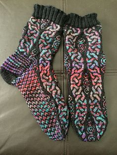 FREE - Ravelry: Project Gallery for Ancient Path Socks pattern by Jennifer Pattison Crochet Boot Socks, Knitted Slippers, Knit Mittens, Knitting Socks, Baby Knitting, Knit Crochet, Lots Of Socks, My Socks, How To Purl Knit