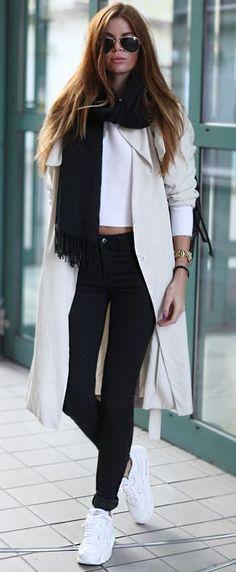 Josefin Ekstrom Black Scarf On White Trench Fall Street Style Inspo