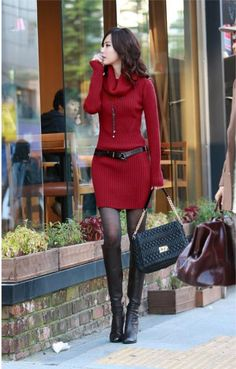 COWL NECK LONG SLEEVES COMFY SWEATER DRESS