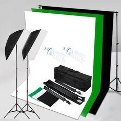 KIT Studio DE Photographie Softbox Stand Lumière Toile DE Fond Noir Blanc Vert…