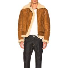 Acne Studios Ian Shearling Jacket (9,375 ILS) ❤ liked on Polyvore featuring men's fashion, men's clothing, men's outerwear, men's jackets, coats & jackets, mens shearling jacket and mens collared jacket