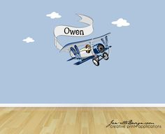 Airplane Wall Decal,Vintage Airplane and Personalized Banner Fabric Wall Decal, etsy, $55
