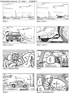 "Breaking Bad Season 4 ""Problem Dog"" by Ted Slampyak. page 1 Storyboard Film, Storyboard Examples, Storyboard Drawing, Storyboard Template, Animation Storyboard, Storyboard Artist, Comic Book Layout, Dog Pop Art, Art Assignments"