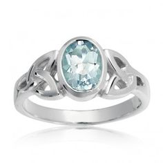 Blue Topaz Trinity Celtic Knot Ring Sterling Silver