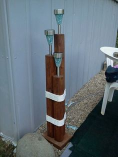 Landscaping timber solar light stand