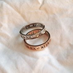 Roman numeral rings, inspired by Tiffany atlas Silver and rose gold Roman numeral rings, inspired by the Tiffany atlas collection Jewelry Rings
