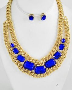 Gold Tone / Sapphire Acrylic / Lead Compliant / Metal Chain / Necklace & Post Earring Set