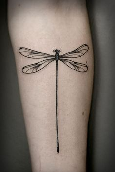 Best Friend Tattoos - simple dragonfly tattoo on the forearm with long tail