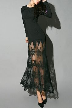 Sexy Black Dress with See-through Trumpet Skirt  . If only the black part was a little longer.