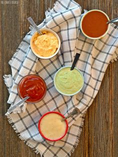 5 Unique Dipping Sauces, EASY! Cilantro Lime Cream Sauce, Honey Mango BBQ Sauce, White Cheddar Beer Cheese Sauce, Cheesy Horseradish Dip, Vanilla Bean Ketchup.   The Cookie Rookie