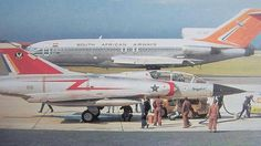 Mirage III BZ 816 in PE in the late with an SAA Boeing 727 in the background Air Force Aircraft, Fighter Aircraft, Fighter Jets, Military Jets, Military Aircraft, War Jet, South African Air Force, Airline Logo, Boeing 727