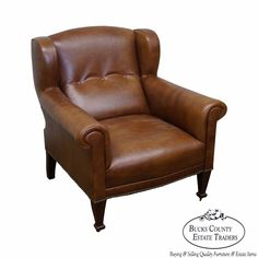 Ralph Lauren Brown Leather Tufted Club Chair  #Regency