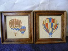 Vintage Pair of Hot Air Balloon Framed Pictures $8