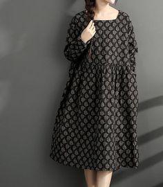 Robe longue lâche lin et coton imprimé long hiver talonnage robe grande taille