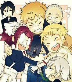 Sebastian, Mey-rin, Ciel, Baldroy, Finny, and Tanaka sebasian jest look at him....he looks so cute!!!