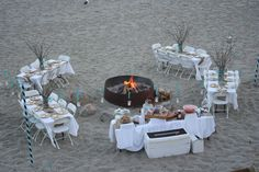 Rehearsal dinner on the beach -BBQ -beach chairs, blankets and the existing gazebo with a few real chairs -bonfire and s'mores