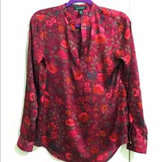 Ralph Lauren NWOT blouse sz S Satiny, plum-wine blouse with a gorgeous red and pink floral pattern. Never worn, no defects, size small. Slightly reflective ✨✨I'm in love with it but have no room in my closet  make me an offer  Ralph Lauren Tops Blouses