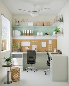 27 Trendy Home Office Planejado Sala Home Office Space, Home Office Design, Home Office Decor, House Design, Office Room Ideas, Simple Home Design, Bedroom Office Combo, Creative Office Space, Home Office Colors