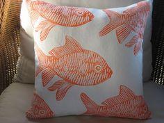 Orange Coastal Decor Throw Pillow