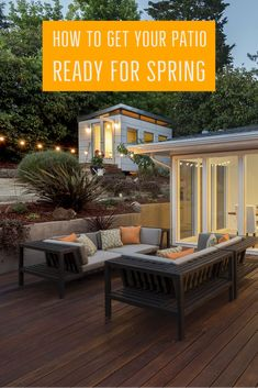 If you've already begun your spring cleaning or are planning to start, add your patio to your list! Patio Ideas, Outdoor Ideas, Backyard Ideas, Outdoor Decor, Outdoor Wood Projects, Residential Landscaping, New Deck, Container House Design, Get Outside