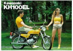 "A popular model with college and beginner riders with its sparkling performance ond pop colours. and most suitable for framing. ""The perfect gift for the KAWASAKI enthusiast with a penchant for classic bikes. Kawasaki Mule, Mini Bike, Classic Bikes, Gto, Repair Manuals, Cars And Motorcycles, Motorbikes, Surfboard, Color Pop"