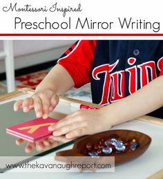 Montessori Inspired Preschool Mirror Writing -- easy writing extension for preschoolers