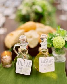 Leila and Tony, Los Olivos, California {Condiments} Here, decanters are trimmed with artful tags. Green Wedding, Diy Wedding, Wedding Table, Wedding Decor, Wedding Ideas, Olive And Vine, Olive Oil Favors, Olive Oil And Vinegar, Olive Oil Bottles