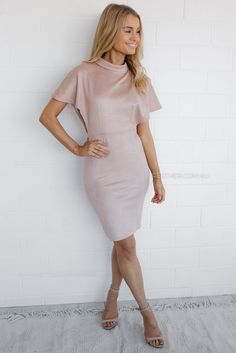 fit: standard sizing, fitted style, light weight fabric, stretch fabric, unlined, invisible back zipper, open back, low cut under sleeve colour: blush fabric: polyester length: approx. 54cm from waist to hemline  our model is 163cm tall and is pictured in a size 8/S
