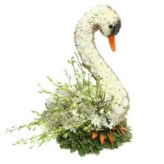 Speciality Swan Funeral Tribute Beautiful Flower Arrangements, Unique Flowers, B. Large Flower Arrangements, Funeral Flower Arrangements, Funeral Flowers, Unique Flowers, Beautiful Flowers, Funeral Tributes, Cemetery Flowers, Sympathy Flowers, Balloon Flowers