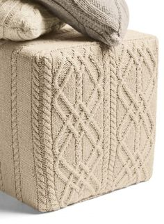 Cute knitting ideas for home deco, love the cables...we have so many old handmade blanket from our grandmothers