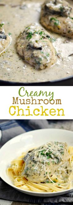 This Creamy Mushroom Chicken is loaded with amazing flavor from the white wine and tarragon, and easily prepared in a cast iron skillet | cookingwithcurls.com