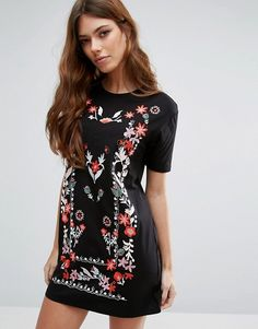 River Island Floral Embroidered T Shirt Dress