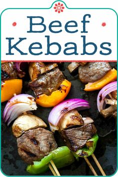 Beef Shish Kebabs! Call them kabobs, kebabs, or shish kebobs, what's a summer grill without them? Top sirloin chunks, marinated in soy sauce, garlic, ginger, olive oil marinade, grilled with onions, mushrooms, bell peppers. #favoritesummer #fourthofjuly #grill #beef Vegan Recipes Beginner, Healthy Dinner Recipes, Whole Food Recipes, Summer Recipes, Delicious Recipes, Beef Kabob Recipes, Grilling Recipes, Camping Recipes, Fish Recipes