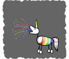 interference - a rainbow unicorn throwing up sprinkles