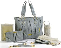 Timi & Leslie Dawn Faux Leather 7 Piece Baby Diaper Bag Set New