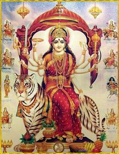 Durga, is the Hindu root of creation, preservation, and annihilation. Saraswati Goddess, Durga Maa, Shiva Shakti, Divine Mother, Mother Goddess, Indian Gods, Indian Art, Om Namah Shivaya, Durga Images