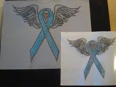 huge aqua winged ribbon lukemia   bling by BlingIsTheNewBlack, $19.00