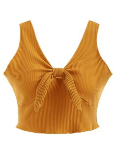 803c40a5c4348 Bright Yellow Standard Solid Plunging Short Casual Plunging Neck Ribbed Crop  Tank Top Cropped Tank Top