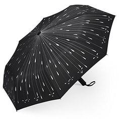 PLEMO Umbrella Raindrops Automatic Folding Travel Rain Drop Black Umbrellas