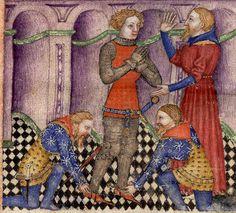 BNF Français 343 - Queste del Saint Graal / Tristan de Léonois Folio:1v Location:Milan, Italy Dating:1380 - 1385 Institution:Bibliothèque Nationale