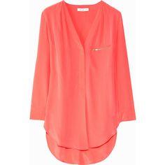 Sandro Eldorado silk top (6.800 UYU) ❤ liked on Polyvore featuring tops, blouses, shirts, blusas, silk shirt, zip shirt, pleated blouse, pleated shirt and silk blouse