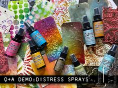 Q+A demo: distress sprays Alcohol Ink Crafts, Alcohol Ink Art, Alcohol Markers, Distress Ink Techniques, Embossing Techniques, Tim Holtz Distress Ink, Art Journal Tutorial, Anna Griffin Cards, Distressed Painting