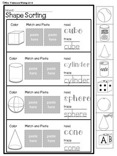 Download free printables at preview. Shape sorting. Spring Math and Literacy No Prep - Kindergarten