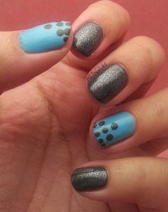 Mivi Nail Art: Manicura Azul y Gris con Puntos