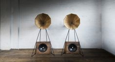 Sound System 1 - high-efficiency horns and low powered single ended triode  amplification with state of the art bass drivers combined in sculptural  solid timber forms.